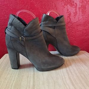 Strappy Blue Grey Suede Leather Ankle Boots Heels